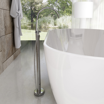 Floor-mounted bath water taps